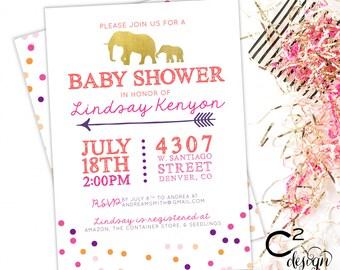 Dots & Elephants Baby Shower Invitation