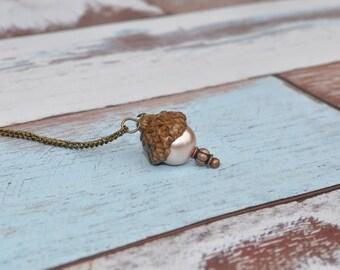 Pearl Necklace - Acorn Jewelry - Beige