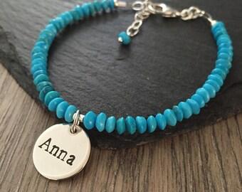 Turquoise Bracelet, Name Bracelet, Turquoise Name Bracelet, Hand stamped bracelet, turquoise jewellery, new