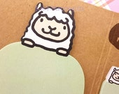 Very Cute Fluffy Sheep Sticky Note and Tags in Pastel Green!