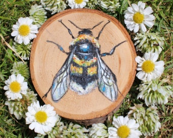 Small Bumble Bee Painting on real Log Slice  ~ Save the Bees! nature illustration gift tree animals insect acrylic honey decor home cottage