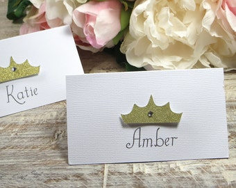Princess Party place cards, Birthday party place cards, Crown placecards, tiara seat assignments, Fairy Tale wedding place cards