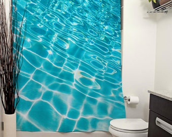 pool ripples printed shower curtain bathroom decor aqua bath decor swimming water