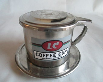 Coffee Strainer with Lid - Metal Vintage (Marked) LC Stainless Steel Coffee Filter  - Special Vintage Piece - 2 1/4 Inches High - Functional