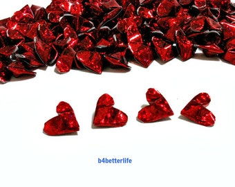 100pcs Red Color Mini Size 3D Origami Hearts LOVE. (4D Glittering paper series). #FOH-157.