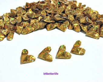 100pcs Gold Color Mini Size 3D Origami Hearts LOVE. (4D Glittering paper series).