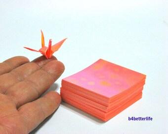 "200 Sheets 2"" x 2"" Orange Color DIY Chiyogami Yuzen Paper Folding Kit for Origami Cranes ""Tsuru"". (AV paper series). #CRK-22."