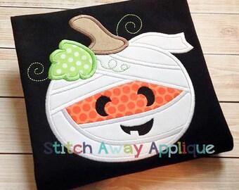 Mummy Pumpkin Halloween Fall Machine Applique Design