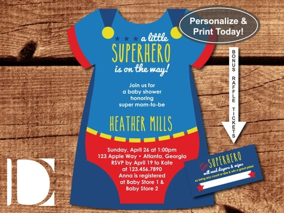 Handy image intended for free printable superhero baby shower invitations