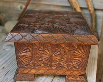 Vintage Wooden box carved,Folk art.