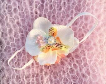 So Soft ! Newborn Baby Girl pink mohair wrap & Lily flower Headband 2 Piece SET Photo Prop