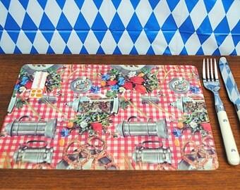 Vintage * 1970s German rustic Breakfast / Serving Board * Melamine * Bavarian Style * Beer Mug * Pretzel * Oktoberfest Buffet * Retro