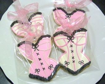 Corset Sugar Cookie Favors Custom Decorated Gourmet Cookie Lingerie Cookie Bride Cookie Bachelorette Adult Underwear Cookie Wedding Cookie