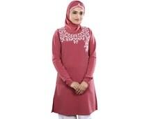 Embroidered Pink Tunic KRF076 Elegant Top, Party & Occasion, Modest Muslim Kurti Dress, Hijab, Symmetrical Blouse, Islamic Clothing