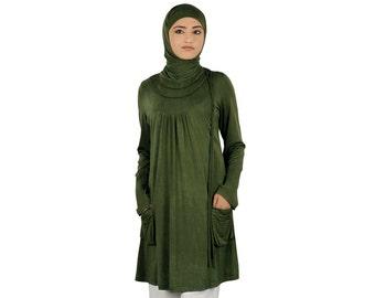 Modest Henna Soft Jersey Tunic/Top KRF058, Modish Formal & Casual Wear | Islamic Clothing |Hijab | Elegant Blouse | Muslim Kurti Dress