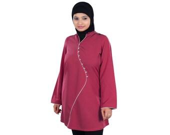 MyBatua Women's Islamic Elegant Tunic Formal and Daily Wear   Ethnic Islamic Clothing Hijab   Muslim Ladies Long Kurtis Online KRF-036