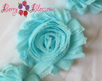 "2.5"" Ultra Aqua shabby flower trim - frayed chiffon - rose flowers by the yard - light aqua - JT aqua"
