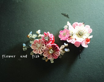 Wedding, Accessories,Wedding hair piece, pink, bridal hair flower, wedding hair pins,Set Of Two-Cosplay-Womens-Custom Color