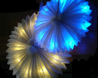 Light Up Tissue Paper Fans.  8-inch and 10-inch.  Warm White, Red, Green, or Blue Fairy Lights.  Great Wedding Reception or Party Decoration