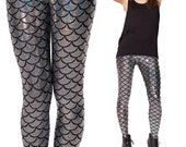 Multi-colour Mermaid Print Leggings- Bottoms - Tights - Costume - Halloween - Dress-up