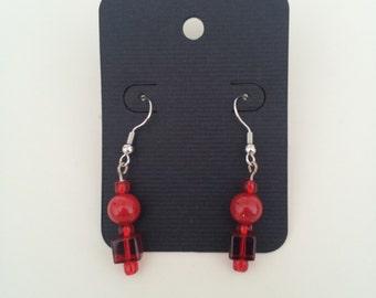 Beaded Dangle Red Earrings