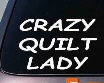Crazy Quilt Lady Sticker Decal Quilting Table Needle Stand *E062*