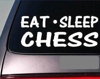 """Eat Sleep Chess Sticker *G823* 8"""" Vinyl Board Knight Pawn Bishop Set Granite"""