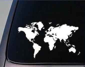 """Global World Map Atlas Vinyl Art Decal Sticker 5.5""""X9.5"""" *D744*"""