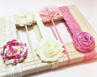 Baby Headband Set - Rose and Pearl collection, flower headband, baby shower gift, baby hair bow, vintage headbands