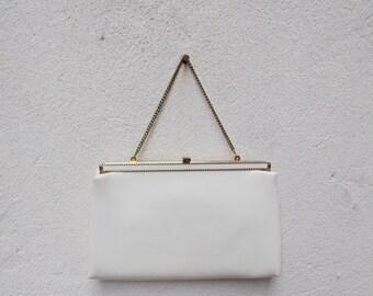 Vintage White Patent Leather Purse Handbag Clutch