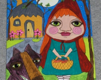 Little Red Riding Hood Big Bad Wolf Cottage whimsical abstract painting canvas modern naive outsider folk art OOAK original art by micki