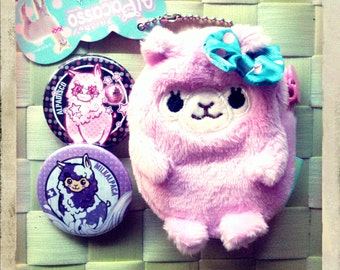 Purple Alpaca Coin Purse and Pin buttons