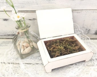 Rustic Ring Box hand distressed white ring box