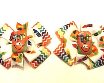 Crayon Pigtail Hair Bows , Back to School , School Time , Rainbow , Pinwheel , Children's Hair Bow