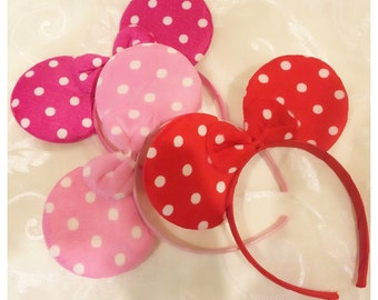 Polka Dot Ears & Polka Dot Bow Headbands in Red, Hot Pink or Pink