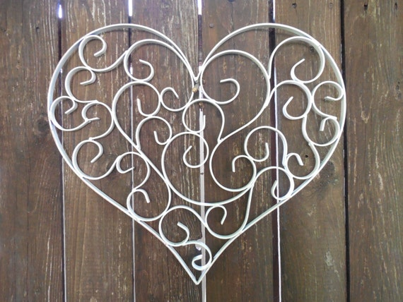 Large Heart Wall Decor : Large heart wall hanging shabby white by theshabbystore