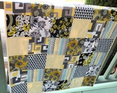 Patchwork baby or lap quilt for boy or girl, yellow & grey , Modern patchwork quilt, cot quilt, nursery quilt or throw, baby blanket