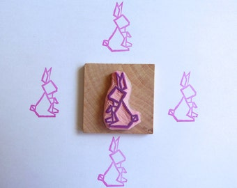 Origami bunny hand carved rubber stamp