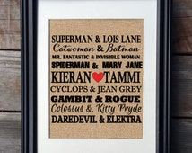 Superhero Love Burlap Print | Unique Wedding Gift | Superhero Burlap Sign | Couple Gift