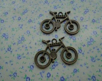 10 pcs of antique bronze color metal bicycle pendant charm , 35*24mm , MP41