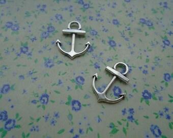 50 pcs of antique silver color metal anchor pendant charm , 18*14mm , MP48