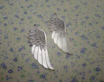 8 pcs of antique silver color metal wing pendant charm , 55*20mm , MP341