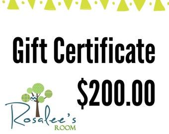 Rosalee's Room Gift Certificate 200