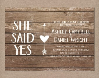 Rustic Engagement Party Invitation, Printable, Shabby Chic, Boho Neutral Wood Grain