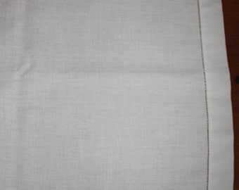 Vintage White Irish Linen Hemstitched Table Runner
