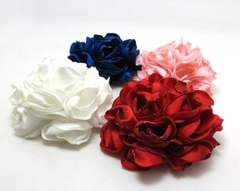 4 Colors|2 Sizes Satin Flower|Burned Edges|Satin Rose|Hair Flower|Brooch Pin|Fabric Flower|Applique|Handmade|Floral Supply|Embellishment