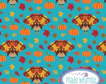 Gobble Gobble Turkey Knit Fabric by Made Whimsy