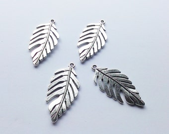 Tibetan Silver pk of 4 Leaf Pendants 46x22mm
