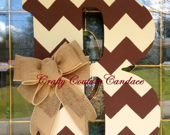 Chevron Monogram Door Hanger with Burlap Bow