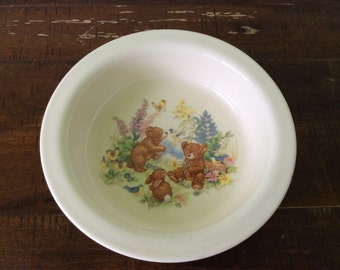 Vintage Royal Kent bears in the meadow children's bowl, sweet keepsake bowl of woodland animals